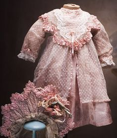 Wonderful Antique French SIlkTulle Lace Dress and Bonnet for Jumeau Bru Steiner Eden bebe doll about 25-26""