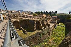 Excavations at Herculaneum, Italy show how deeply it was covered by eruption of Mt. Vesuvius