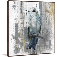 Perching Grey Floater Framed Painting Print on Canvas, Size: 18 inch x 18 inch, Multicolor