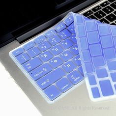 """Russian / English LIGHT BLUE Silicone Keyboard Cover for Macbook Pro 13"""" 15"""" 17"""""""