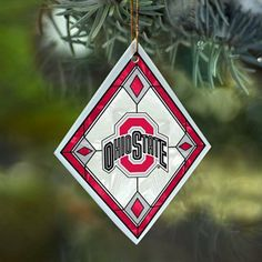 "Ohio State Buckeyes hand painted glass ornament, approximately 4"" x 3"" $9.95"