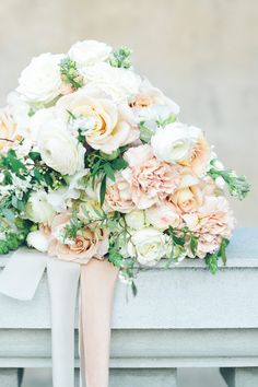 Blush, peach and white wedding bouquet | Peggy Saas | See more: http://theweddingplaybook.com/summer-dreaming-wedding-inspiration/