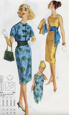 blue and gold 1960s Fashion, Cute Fashion, Vintage Fashion, Vintage Style, Vintage Dress Patterns, Vintage Dresses, Vintage Outfits, Types Of Jeans, Fashion Illustration Vintage