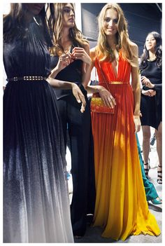 The mesmerizing colors of the underwater world backstage at the ELIE SAAB Ready-to-Wear Spring Summer 2015 Fashion Show