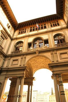 This is the archway to the famous Uffizi Gallery: The world's most important collection of Renaissance art! #Florence #GowithOh