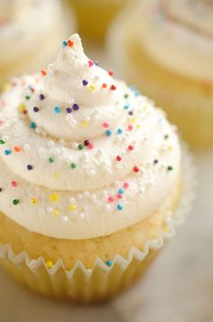 Best Birthday Cupcakes are the perfect dessert recipe idea for your special celebration! A light and moist homemade vanilla cake is topped with the perfect whipped buttercream and colorful sprinkles for a sweet treat everyone will love. Icing Recipe For Cake, Homemade Frosting Recipes, Homemade Vanilla Cake, Homemade Cakes, Cupcake Recipes, Cupcake Cakes, Dessert Recipes, Cup Cakes, Icing Recipes
