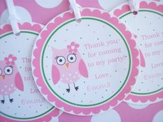 Owl Birthday Tags  Girls Owl Birthday