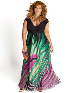 Rainforest Paradise Maxi Plus Size Casual Dress available at Sophisticated Curves