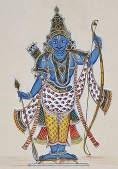 Painting of Rama. He is depicted blue-skinned and carrying a strung bow with a quiver full of arrows on his back and a single arrow in his right hand.