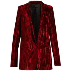Haider Ackermann Madame single-breasted velvet jacket (£1,240) ❤ liked on Polyvore featuring outerwear, jackets, red, shawl tuxedo jacket, red shawl, velvet tuxedo jacket, tux jacket and red velvet jacket
