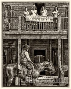 "Old West - ""The Women"" - Vintage. Like ""Unforgiven"", 1992 Cowgirl And Horse, Cowboy Art, Westerns, American Art, American History, Western Saloon, Western Cowboy, Old West Town, Cowboy Pictures"
