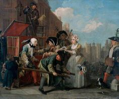 'A Rake's Progress: 4. The Rake Arrested, Going to Court' by William Hogarth, 1734