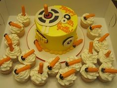 This wud totally be Khalil's cake! Nerf Birthday Party, Twin Birthday Parties, Nerf Party, 12th Birthday, Birthday Ideas, Birthday Cakes, Cupcake Cake Designs, Cupcake Cookies, Cupcake Ideas