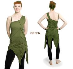 Green Off-shoulder overlock LEAF DRESS psy trance pixie elf festival (S)
