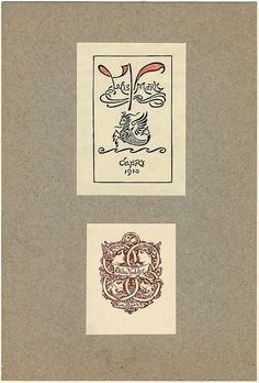 [Two bookplates owned by artist Elihu Vedder]. Vedder, Elihu,, 1836-1923,, bookplate designer. [between 1870 and 1910?]. 2 prints : lithographs, offset, color ; bookplates 9.2 x 6.5 cm and 6.8 x 5.3 cm, on mount 22.8 x 15.3 cm. Ruthven Deane Bookplate Collection, Library of Congress, Prints and Photographs Division.