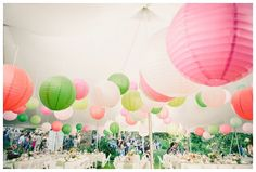 tents with lanterns hung inside