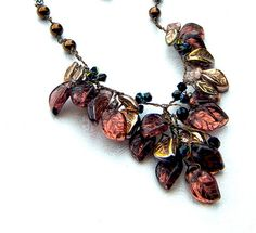 Brown Necklace  Fall Fashion  Vintage by CherylParrottJewelry,