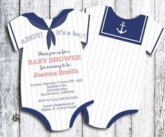 Sailor - Ahoy it's a Boy! Onesie Baby Shower Invitation - set of 35