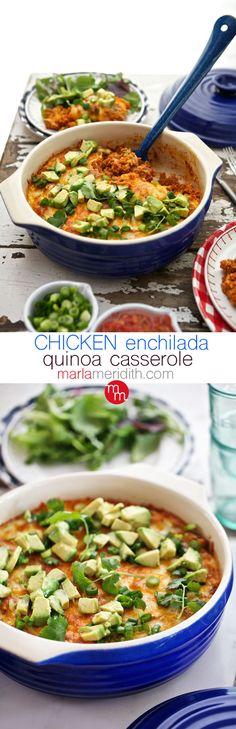 Chicken Enchilada Quinoa Casserole | MarlaMeridith.com