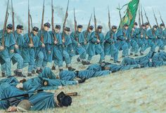 The Massachusetts (shown here with their regimental banner) held the centre of the Irish Brigade's line. They marched up the hill in close order, leaning into the hail of bullets that greeted them from the Confederate positions along the stone wall. Mexican American, American Soldiers, American Civil War, Military Diorama, Military Art, Canadian History, American History, Battle Of Fredericksburg, Civil War Art