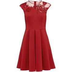 Ted Baker Dollii Embroidered Mesh Detail Skater Dress , Bright Red (205 BGN) ❤ liked on Polyvore featuring dresses, bright red, sleeved maxi dress, red maxi dress, red mini dress, red party dresses and pleated maxi dress