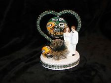 Green Bay Packers Wedding Pkg | NEW GREEN BAY PACKERS WEDDING CAKE TOPPER YOUR CHOICE OF BRIDE & GROOM ...