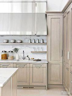 an arrangement stain wood kitchen