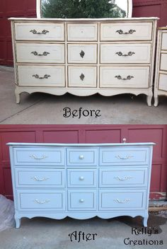 French Provincial 9 drawer dresser painted baby blue with silver detailing before and after pictures. Refinished by Kelly's Creations.  https://www.facebook.com/pages/Kellys-Creations-Refinished-Furniture/524028237619793
