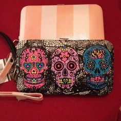 Phone case & wallet combination 2 for 10 wallet and phone case combination ! Very safe and takes up less space ! Carry phone and credit card and cash all together ! No more forgetting 🌟1-black w/skulls              And the second pink And white stripes ! rue 21 Bags Wallets