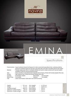 emina Sofa, Couch, Polyurethane Foam, Hardwood, Cushions, Contemporary, Fabric, Home Decor, Throw Pillows