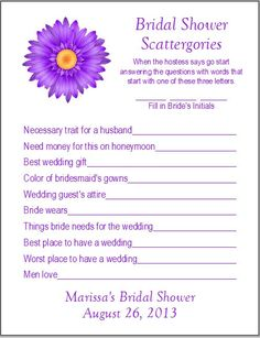 24 Personalized SCATTERGORIES Bridal Shower Game by Check out Dieting Digest.i do love a good game of scattergories Sister Wedding, Friend Wedding, Our Wedding, Wedding Ideas, Wedding Goals, Bridesmaid Duties, Always A Bridesmaid, Bridesmaid Ideas, My Bridal Shower