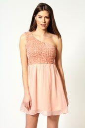 Rachel Rose Corsage One Shoulder Prom Dress