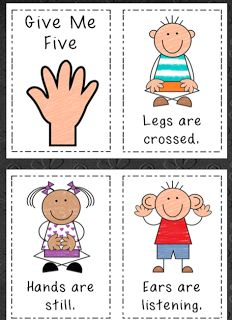 Inspired by Kindergarten: August 2012 Give me Five Kindergarten First Week, Kindergarten Classroom Management, Classroom Rules, Teaching Kindergarten, Preschool Classroom, Future Classroom, Classroom Organization, Classroom Ideas, Preschool Rules