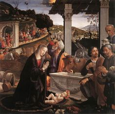 """Painting of the Day! Domenico Ghirlandaio (1449-1494) """"Adoration of the Shepherds"""" Panel 1482-1485 To see more works by this artist please visit us at: http://www.artrenewal.org/pages/artwork.php?artworkid=23011&size=large"""