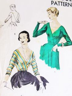 1950s Beautiful Cocktail Evening Blouse Vogue 6934 Easy To Make Low V V Neckline Front and Back Tuck In Blouse Bust 34 Vintage Sewing Pattern