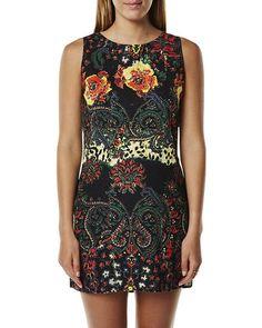 STUSSY, Transition tank dress - print - dark floral and paisley