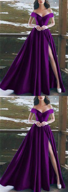 Elegant V-neck Off The Shoulder Long Satin Prom Dresses M4404