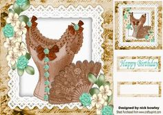 vintage brown basque with turq cream flowers on lace 8x8 on Craftsuprint - Add To Basket!