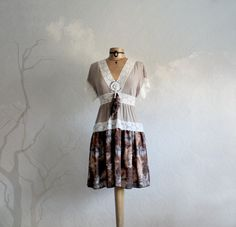 Brown Lace Dress Tribal Feathers Upcycled Clothes Boho Clothing Bohemian Style Eco Friendly Empire Waist Women's Dress Small 'GABRIELLE' on Etsy, $79.00