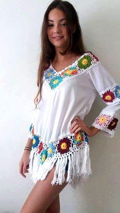 d981915427a3a blusa crochê e crepe estilo bojo com fra