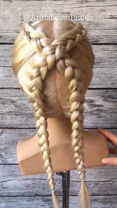 Crossed dutch braids tutorial dutch braid into messy bun Prom Hairstyles For Long Hair, Braids For Long Hair, Braided Hairstyles, Cool Hairstyles, Braided Updo, Protective Hairstyles, Wedding Hairstyles, Updo Hairstyle, Medium Hair Styles