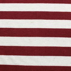 Burgundy and Oatmeal Stripe Cotton Jersey Knit Fabric