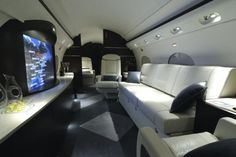 One anonymous director's new home theater is actually aboard a Gulfstream III. He'll reportedly use it to screen movies while zipping from coast to coast. The screen is the largest HD LCD monitor ever installed on a Gulfstream. Luxury Jets, Luxury Private Jets, Private Plane, Luxury Rv, Gulfstream Iii, Dassault Falcon 7x, Private Jet Flights, Donald Trump, Facts About America