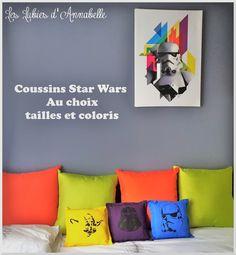 """Coussin """"Star Wars"""" pochoir au choix, couleur au choix, taille au choix."""