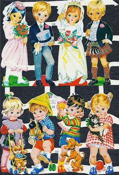 I got most of these by swapping with my friends. Vintage Die-cut Children Wedding and Kids with Animals My Childhood Memories, Childhood Toys, Vintage Paper Dolls, Vintage Toys, Vintage Cards, Vintage Images, Motif Vintage, Wedding With Kids, Retro Toys