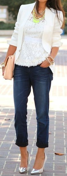 Lace Blouse + White Blazer outfit