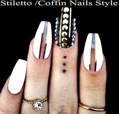 Stiletto Nails,20xCoffin Nails,Hand Painted False Nails,Press on Nails+Glue