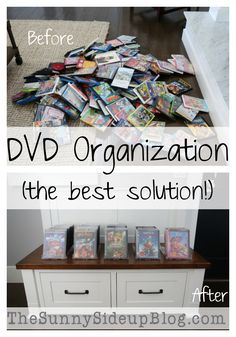 Is your DVD collection taking over your house! I've finally achieved DVD organization in my house (the best solution! Diy Dvd Storage, Movie Storage, Dvd Storage Solutions, Storage Ideas, Book Storage, Movie Organization, Playroom Organization, Organized Playroom, Organization Ideas