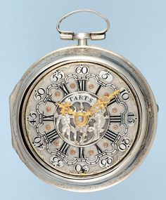 Antique Pocket Watch - Silver Repousse Pair Case with Champleve Dial from Pieces of Time