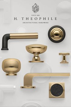 Dramatic Contrasts for Modern Living. Black and Gold Hardware by H. Brass and gold metals Gold Kitchen Hardware, Gold Cabinet Hardware, Kitchen Knobs, Kitchen Cabinets, Bathroom Hardware, Kitchen Pantry, Gold Door Handles, Lever Door Handles, Single Front Door Designs